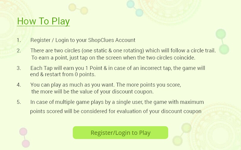 Shopclues Tap N Win Game