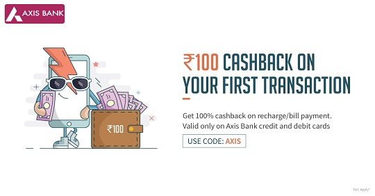 Freecharge Axis Bank Cards Offer : Get 100% Cashback On