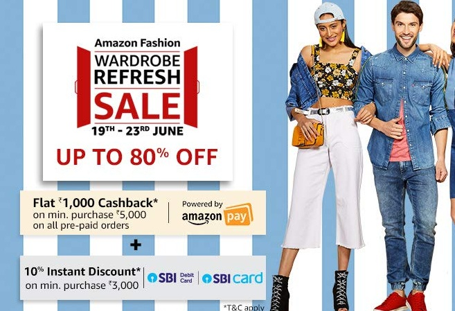 567566db0 Amazon Fashion Wardrobe Refresh Sale: Upto 80% Off On Clothing & Fashion  Wear + Extra Rs 1000 Cashback [19th To 23rd June]