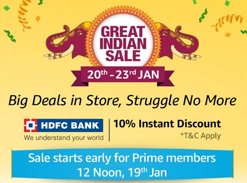 e99979c719b Amazon Great Indian Sale Offers 20th-23rd January 2019  Mobile Deals +  Extra 10% HDFC Discount