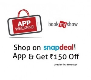 7573c071d Snapdeal Bookmyshow Offer  Shop on Snapdeal App   Get Rs. 150 Bookmyshow  voucher