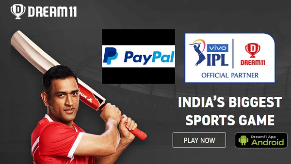 Dream11 Paypal Offers- Get 100% Cashback Upto Rs 100 On Add
