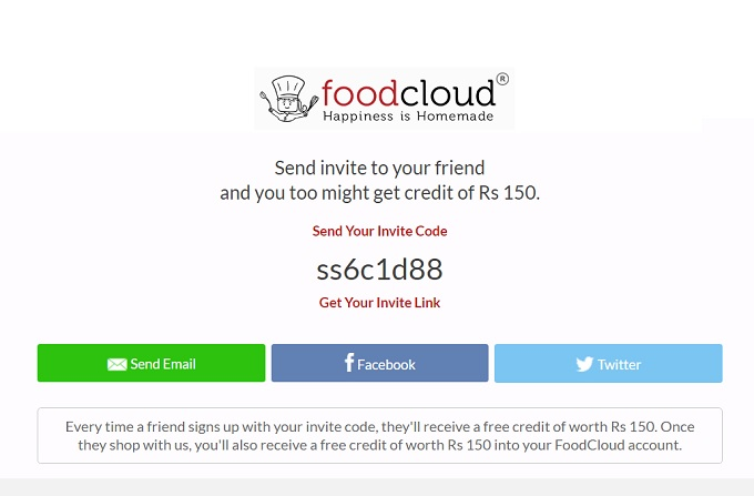 Foodcloud Refer & Earn Offer : Get Free Rs 150 Credit On