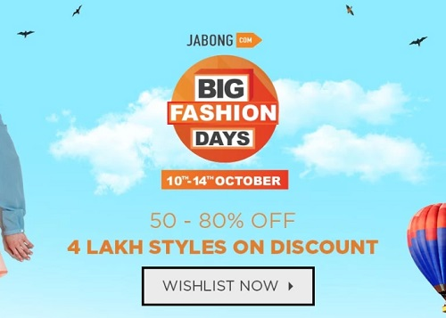 Jabong Big Fashion Days  10th-14th Oct 2018   Get Minimum 50%-80% Discount  On Fashion Products d98906c2ceb29