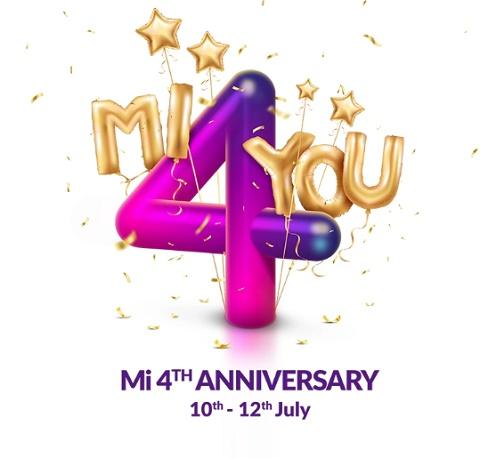 Mi 4th Anniversary Sale 10th 12th July 2018 Avail Rs 4 Flash