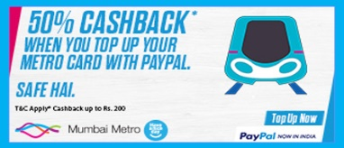 Mumbai Metro Card Recharge Offer: Get 50% Cashback Via Paypal