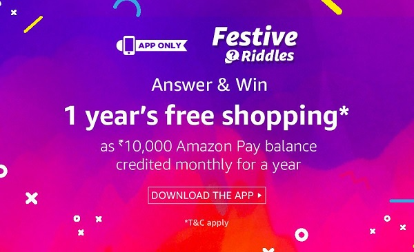India Desire : Amazon App Festive Riddles Quiz Contest : Solve & Win 1 Year Free Shopping