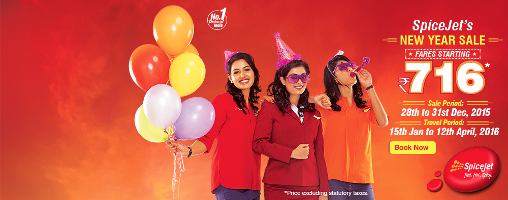 spicejet happy new year sale air fare starting at rs 716