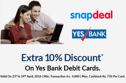 aeb16937697 India Desire   Snapdeal Yes Bank Offer   Flat 20% Extra Discount At Snapdeal  Via