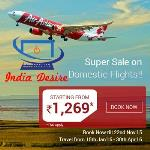 India Desire : Air Asia Offers Lowest Domestic Flights Starting From Rs 1269 From Via.com