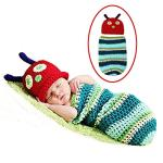 India Desire : Buy Decut Set Of 2 Baby Blue Green Caterpillar Wrap/Sleeping Bag With Cap Crochet Clothing at Rs. 69 from Amazon