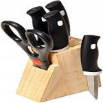 India Desire : Buy Floraware Wood Kitchen Knife Set with Wooden Block and Scissors, 5-Pieces, Black at Rs. 149 from Amazon