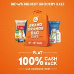 India Desire : Grofers Grand Orange Bag Days : Get Flat 100% Cashback Upto Rs 5000 On Grocery Shopping Between 10th To18th August 2019 [GOBD Sale]