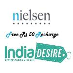 India Desire : Nielsen Free Recharge Offer : Complete Nielsen Survey And Get Free Rs 50 Recharge
