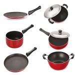 India Desire : Buy Nirlon Non-Stick Aluminium Cookware Set, 6-Pieces, Red/Black at Rs. 1071 from Amazon