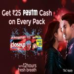 India Desire : Paytm Closeup offer: Get Free Rs 25 Paytm Cash On Every Closeup Toothpaste Pack