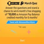 India Desire : Amazon App March Quiz Contest Answers: Answer And Stand a Chance To Win 6 Month Free Shopping