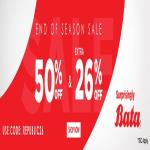 India Desire : Bata End Of Season Sale: Flat 50% Off + Extra 26% off On Bata Footwear Shoes, Sandals