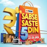 India Desire : Big Bazaar Sabse Saste 5 Din Sale From 22nd-26th January 2020- Great Offers & Rs 100 Discount Coupon