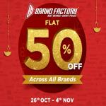 India Desire : Brand Factory Diwali Festival Sale (26th Oct To 4th Nov): Get Flat 50% Off On All Brands Clothing