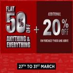 India Desire : Brand Factory Offers (27th-31st March 2019): Get Flat 50% Off On Everything + Extra 20% Discount