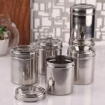 India Desire : Buy Dynamic Store See Through Steel Round 1 L Storage Canister Set of 6 At Rs 455 From Pepperfry