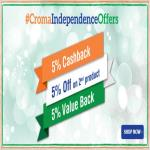 India Desire : Croma Independence Day Sale 2016 : Axis Bank 5% Cashback + 5% Off On 2nd Product