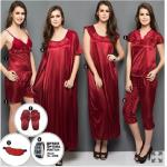 India Desire : Clovia 9Pcs Set: Get 6 Pcs Nightwear + Eye Mask + Satin Slippers & Free Optima Watch At Rs. 1299 Only From Clovia