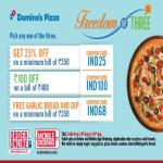India Desire : Dominos Pizza Freedom Of Three Offer : Get Three Amazing Offer On Dominos - IND25, IND100, INDGB