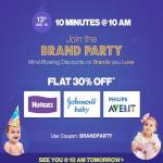 India Desire : Firstcry 10 Minutes @10 Am Offer : Get Flat 30% Off On Brands From Firstcry [13th August, 10Am to 10.10AM]-BRANDPARTY