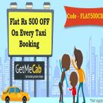 India Desire : Getmecab Offers : Get Flat Rs 500 Cashback On All Bookings On Getmecab [No Minimum Booking]