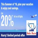 India Desire : Go Air Special Summer 2016 Offer : Get 20% Off On All Flights Booked Between 29th Sep To 2nd Oct 2015