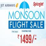 India Desire : Goibibo Monsoon Flight Sale : Book Flight At Starting Price Rs. 1499 From Goibibo Monsoon Flight Sale [Jet Airways & Spicejet]