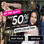 India Desire : Koovs Flash Sale : Get 50% Off On Storewide [AP50]