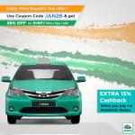 India Desire : Meru Republic Day Offer: Flat 26% Off On Every Ride +Extra 15% Cashback Through Mobikwik Wallet-JAN26