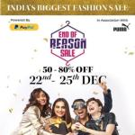 India Desire : Myntra End Of Reason Sale [22nd-25th Dec 2019] : Get Upto 80% Off + Flat 10% Off Via HDFC Bank Cards