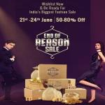 India Desire : Myntra End Of Reason Sale [21st-24th June 2019] : Get Upto 80% Off + Flat 10% Off Via HDFC Bank Cards & Phonepe Cashback Offer