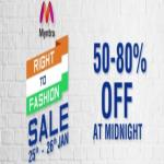 India Desire : Myntra Right To Fashion Sale : Get 50% To 80% Off On Wide Range Of Fashion [25th To 26th Jan 2018]
