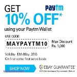 India Desire : Ebay Paytm Offer: [MAYPAYTM10] Get 10% Discount On Ebay Using Paytm Wallet