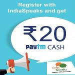 India Desire : Paytm IndiaSpeaks Signup Offer : Free Rs. 20 Paytm Wallet Cash Upon Registering At IndiaSpeaks