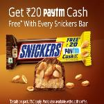 India Desire : Paytm Snickers Offer : Free Rs 20 Paytm Cash On Snicker Bar Purchase Of Rs 35