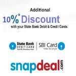 India Desire : Snapdeal SBI Cards Offe : Get 10% Instant Discount With SBI Credit Cards [18th Dec To 18th March 2018]