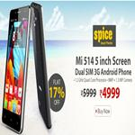 India Desire : Homeshop18 Offer : Get 17% Off On Spice MI-514 Dual SIM Mobile At Rs. 4999 From Homeshop18