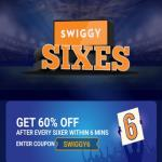 India Desire : Swiggy Sixes IPL 2019 Offer : Get Flat 60% Off After Every Sixer Within 6 Minute In IPL Match [SWIGGY6]