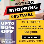 India Desire : Zotezo Shopping Festival : Upto 80% Off + 10% ZoCash + Rs 100 Off On Purchase Of Rs 999